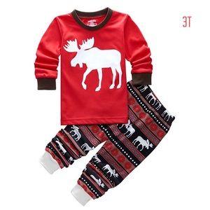 Christmas Toddler Moose Pajamas Set 3T